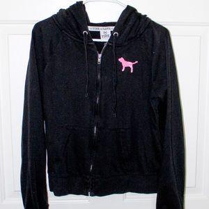PINK black sequin zip-up
